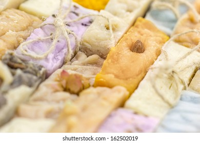 Handmade colorful natural soap background
