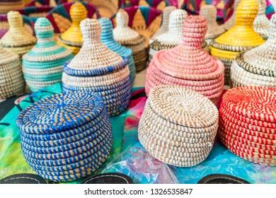 Handmade colorful wicker baskets on open air market on Fuerteventura, Spain
