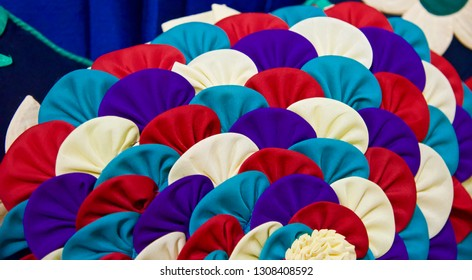 Handmade colourful textile object isolated unique photo