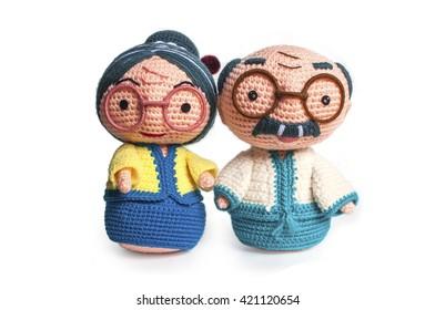 Handmade crochet Grandparents doll.