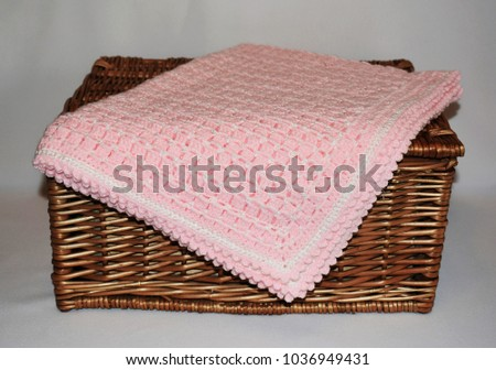 Handmade Crocheted Baby Blanket On Gray Stock Photo Edit Now