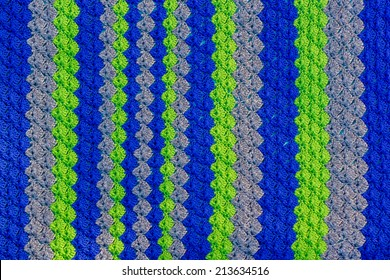 Handmade, crocheted, Seattle Seahawks baby blanket -- image taken in Reno, Nevada, USA