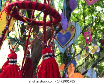 Handmade decorations in the trees