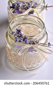 Handmade decorative jar with lace and lavender.