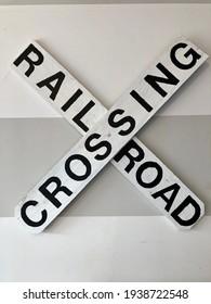 Handmade diy rustic railroad crossing sign.