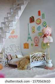 Handmade dollhouse for girls, bedroom  with bed, interesting decoration wall and beautiful colors