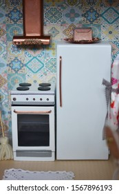 Handmade dollhouse for girls, kitchen in lovely light and wood