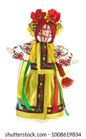 Handmade doll(motanka) in Ukrainian national costume, isolated on white background.