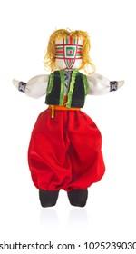 Handmade doll(motanka) in Ukrainian national costume, isolated white background.