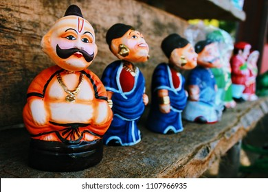 Handmade dolls of mud in Street shop in the union territory of Pondicherry (Puducherry), India