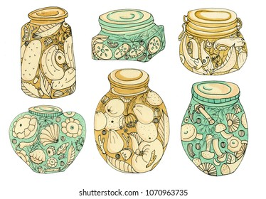 Handmade drawn pickles for your design