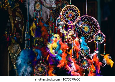 Handmade dream catchers are sold on the traditional flea market in Thamel, Kathmandu, Nepal.