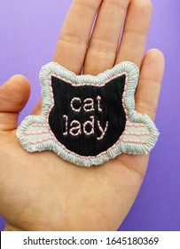 Handmade embroidery needlework black cat lady patch in cat shape