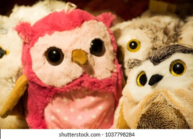 Handmade fabric colorful Owl Doll for sale travelers people in souvenir gift shop in Black Forest or Schwarzwald at Baden-wurttemberg in Stuttgart, Germany