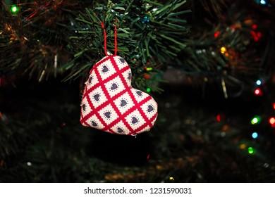 Handmade Fabric Heart Christmas Ornament Hanging on the Christmas Tree