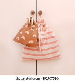 Handmade fabric pouches, eco friendly and sustainable cotton bags hanging