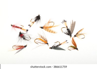 Handmade flies used by fishermen to attract trout and salmon by game fishermen.