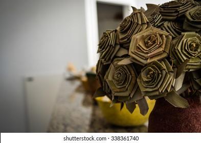 Handmade flower on a vase
