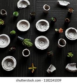 Handmade flower pot make from cement for plant succulent to decor home, amazing black background with mini pots and green botany from top view