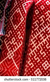 Handmade folk garters with a pattern