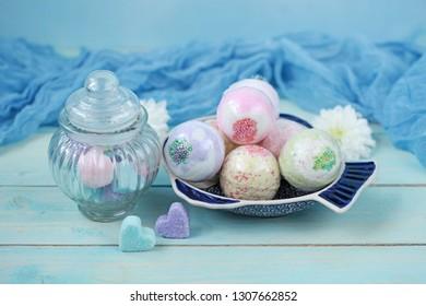 Handmade fragrant multicolored bath balls (bombs). Selection focus.