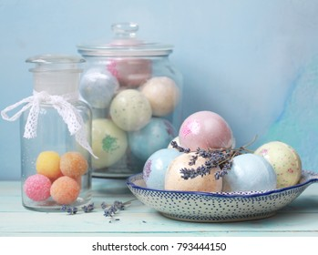 Handmade fragrant multicolored bath balls (bombs). Selection focus on some balls.
