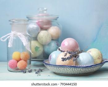 Handmade fragrant multicolored bath balls (bombs). Selection focus on some balls.