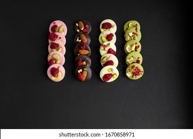 Handmade french sweets with berries and fruits