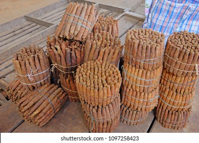 Handmade freshly rolled cigars at farmers market in Villarrica, Paraguay, South America