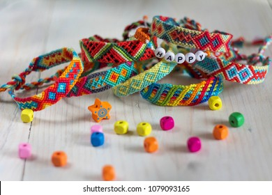handmade friendship bracelets with colorful threads
