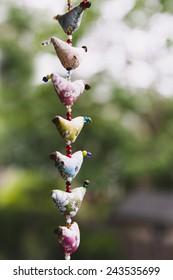Handmade garland hanging outdoors