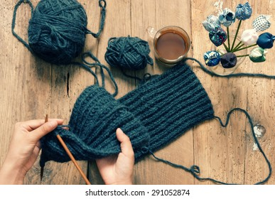 Handmade gift for special day as mother day, father day, valentine day or wintertime, heap of ball of wool to knit colorful scarf for cold day, knitting to make meaningful present