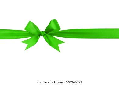 handmade green ribbon bow horizontal border, isolated