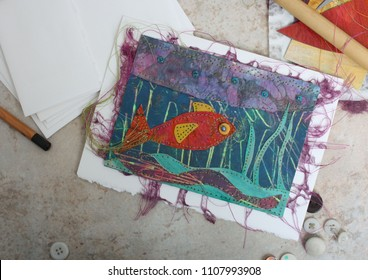Handmade Greeting Card Collage of a Fish Under Water