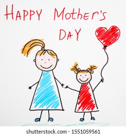 Handmade greeting card for Mother's Day and pencil, top view