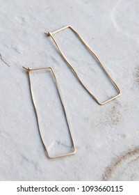 Handmade Hand hammered Brass Gold Minimalist Geometric Rectangular Angle Spear Hoop Earrings