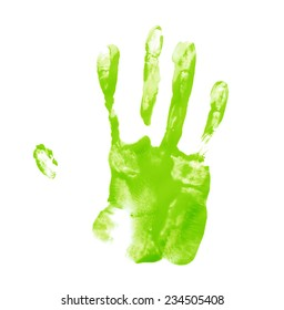 Handmade hand palm oil paint print isolated over the white background