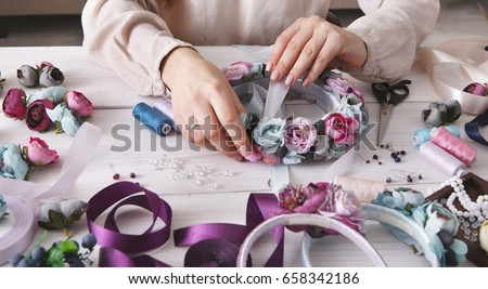 Handmade Headbands Making Home Workshop Unrecognizable Stock Photo