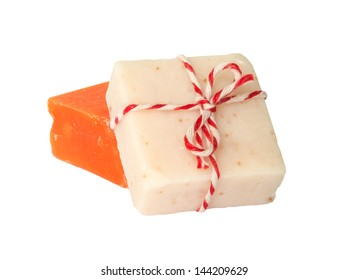 Handmade herbal Spa Soap on white background.