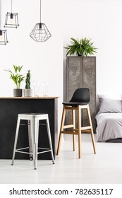 Handmade home bar with potted plants and beer glasses in white room interior with lamps and old locker