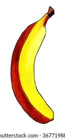 Handmade illustration of a banana