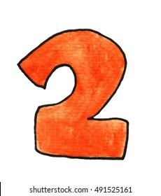Handmade illustration of a number 2
