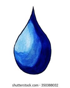 Handmade illustration of a rain drop