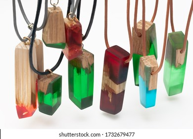 Handmade jewellery made of epoxy resin and wood