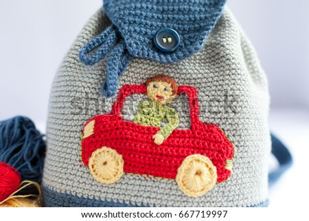 Handmade Knitted Backpack Child Application Boy Stock Photo Edit