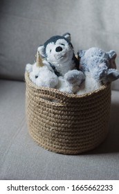 Handmade knitted basket made of jute rope and twine for toys