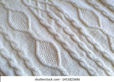 Handmade knitted fabric. Knitting or knitted Pattern, texture, background, close up view.