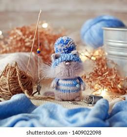 Handmade knitted toy. Amigurumi cat toy. Crochet stuffed animals. Miniature crochet cat. Fishman cat . Gift for her
