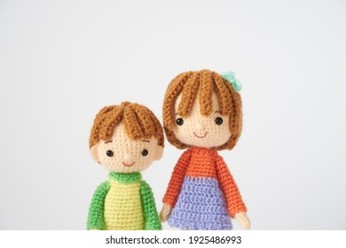 Handmade knitted toy. cute and small Amigurumi doll.Medical care and life