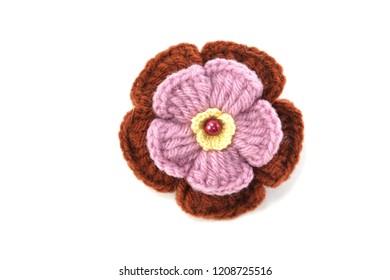 handmade knitting crochet flowers isolated on white background